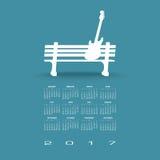 2017创造性的吉他日历 免版税图库摄影