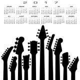 2017创造性的吉他日历 免版税库存照片