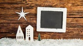 创造性的土气圣诞节背景和copyspace 免版税库存照片