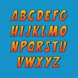 创造性的字体 传染媒介字母表汇集设置了仿照漫画和流行艺术样式 免版税库存图片
