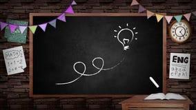 创造性的学校黑板背景的动画 有教室室内设计的学校黑板 向量例证