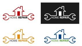 创造性的家庭建筑概念商标设计模板 家庭修理略写法 议院保养概念 向量例证