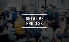 创造性的工艺流程设计突发的灵感想法的视觉想法概念 库存照片