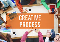 创造性的工艺流程设计突发的灵感想法的视觉想法概念 库存图片