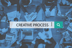 创造性的工艺流程设计突发的灵感想法的视觉想法概念 图库摄影
