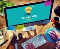 创造性的想法想象力启发电灯泡概念 免版税图库摄影