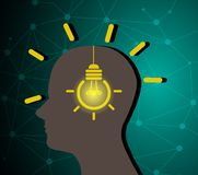 创造性的想法概念人的剪影 向量例证