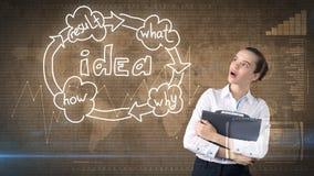 创造性的想法概念,拿着在演播室的女实业家公文包在想法组织系统图附近绘了背景 免版税库存照片