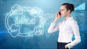 创造性的想法概念,美丽的女实业家谈话在被绘的背景的电话在想法组织系统图附近 免版税库存照片