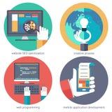 创造性的想法网程序设计流动apps SEO发展个人计算机手机设备递想法计划 免版税库存照片