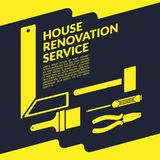 创造性的房子整修服务黄色商标设计模板 皇族释放例证