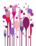 创造性的扁平的餐具 免版税库存图片