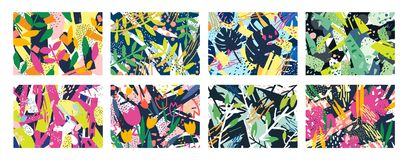 创造性的抽象水平的背景或背景的汇集与树枝,叶子,五颜六色的污点和 向量例证