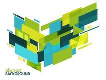 创造性的抽象蓝色和绿色几何背景 免版税库存图片