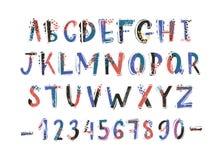 创造性的拉丁字体或英语字母表手拉在白色背景 五颜六色的织地不很细信件安排了  皇族释放例证