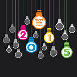 创造性的新年好2015年电灯泡吊背景 免版税库存照片