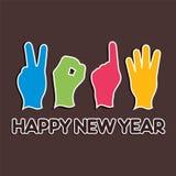 创造性的新年, 2014年与手指的概念 免版税库存图片