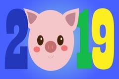 创造性的明信片与逗人喜爱的猪的新的2019年 向量例证