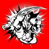 创造性的普遍的武术、空手道,跆拳道等 显示的残暴的男性战斗机字符与火e的超级跳高反撞力运动 向量例证