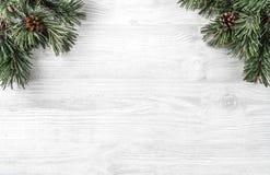 创造性的框架由圣诞节冷杉分支做成在与杉木锥体的白色木背景 Xmas和新年题材 免版税库存图片