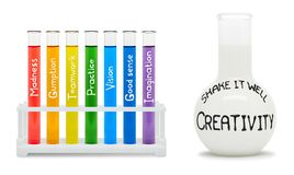 创造性的概念与色的烧瓶的。 免版税图库摄影