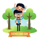 创造性的父亲和儿子例证设计传染媒介艺术商标 图库摄影