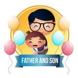 创造性的父亲和儿子例证设计传染媒介艺术商标 库存图片