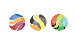 创造性的球形商标模板-被环绕的圆商标设计- Abstract Modern Company商标 向量例证