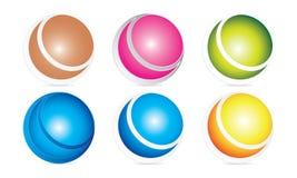 创造性的球形商标模板-被环绕的圆商标设计- Abstract Modern Company商标 库存例证