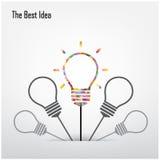 创造性的电灯泡和最佳的想法概念 免版税库存图片