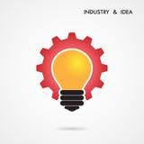创造性的电灯泡和齿轮抽象传染媒介设计横幅templ 库存图片
