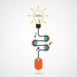 创造性的电灯泡想法概念和计算机老鼠标志 Prog 皇族释放例证