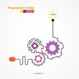 创造性的电灯泡想法概念和计算机老鼠标志 Prog 免版税库存照片