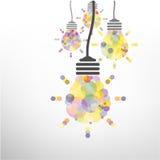 创造性的电灯泡想法概念背景设计 免版税库存图片