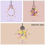 创造性的电灯泡想法概念,企业想法, ab 库存图片
