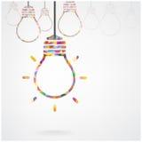 创造性的电灯泡想法概念 免版税库存照片