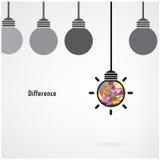 创造性的电灯泡标志,企业想法,教育背景, d 免版税库存图片