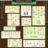 创造性的社会媒介岗位或倒栽跳水Eid的穆巴拉克 免版税库存图片