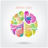 创造性的竖锯左右脑子标志 免版税图库摄影