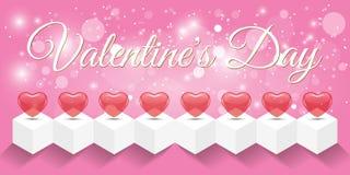 创造性的红色心脏横幅情人节 库存照片