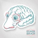创造性的脑子例证。对海报设计,飞行物,盖子, 图库摄影