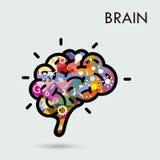 创造性的脑子想法概念,海报飞行物盖子broch的设计 免版税库存图片