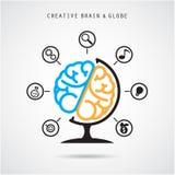 创造性的脑子摘要传染媒介商标设计和infographics临时雇员 库存图片