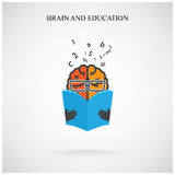 创造性的脑子标志和书标志在背景,设计po的 免版税库存照片