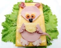 创造性的菜三明治用乳酪和香肠 库存图片