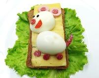 创造性的菜三明治用乳酪和香肠 库存照片