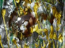创造性的蜡绘画,金黄白色银色绿色结构,创造性的油漆水彩设计的抽象 免版税库存图片