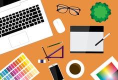 创造性的设计师工作区传染媒介设计 库存图片