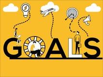 创造性的词做多活动的概念目标和人 库存例证