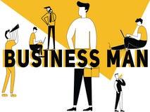 创造性的词概念做事的商人和人 皇族释放例证